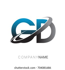 initial letter GD logotype company name colored blue and grey swoosh design. logo design for business and company identity.