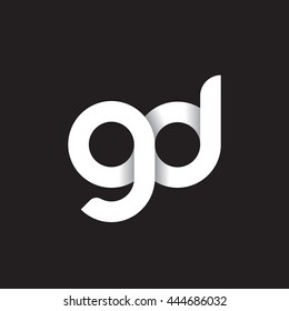 initial letter gd modern linked circle round lowercase logo white black