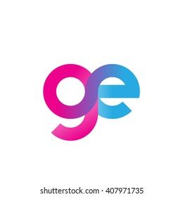 initial letter ge linked circle lowercase logo pink blue purple