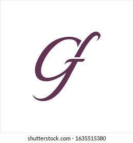 Initial letter gf or fg logo design template
