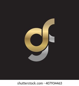 initial letter gf linked circle lowercase logo gold silver black background
