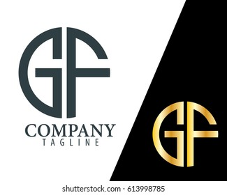 Initial Letter GF With Linked Circle Logo