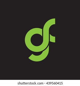 initial letter gf linked round lowercase logo green