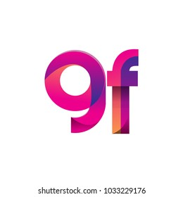 Initial Letter GF Logo Lowercase, magenta and orange, Modern and Simple Logo Design.