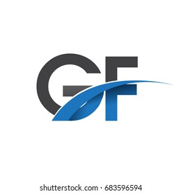 initial letter GF logotype company name colored blue and grey swoosh design. vector logo for business and company identity.