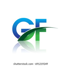 initial letter GF logotype company name colored blue and green swoosh design. vector logo for business and company identity.