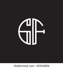 Initial letter GF, minimalist line art monogram circle shape logo, white color on black background