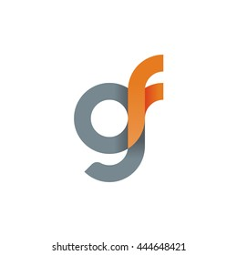 initial letter gf modern linked circle round lowercase logo orange gray