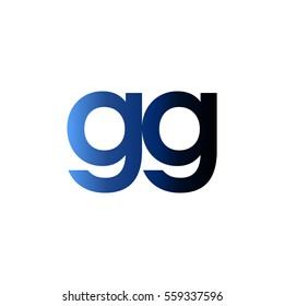 Initial letter GG blue black gradation color logo