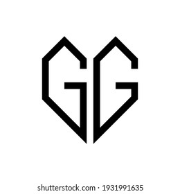 Initial letter gg heart geometric logo vector
