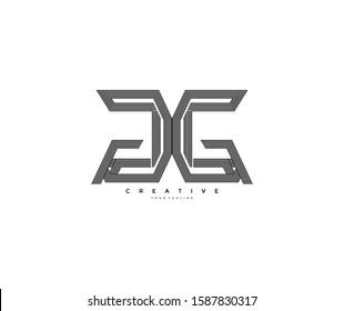 Initial Letter GG Monogram Linear Overlap Stripes Logotype