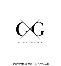 Initial letter gg sliced uppercase modern logo design template elements. Black letter Isolated on white background. Suitable for business, consulting group company.
