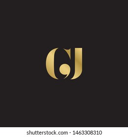 Initial letter gj g j  uppercase modern logo design template elements. Gold letter Isolated on black  background. Suitable for business, consulting group company.