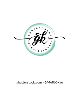 Initial letter GK beautiful handwriting logo vector template