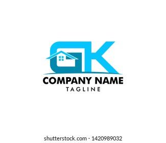 Initial Letter GK House Logo