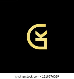 Initial letter GK KG minimalist art logo, gold color on black background.