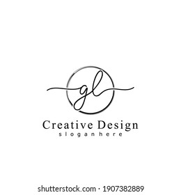 Initial letter GL calligraphy handwritten logo. Handwritten alphabet in the logo template. Letters and Alphabet for your logo design.