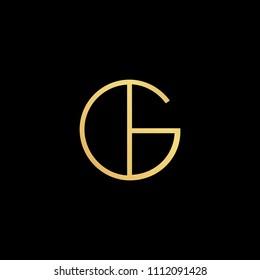 Initial letter GL LG GH HG GI IG minimalist art logo, gold color on black background