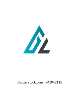 Initial Letter GL Linked Triangle Design Logo
