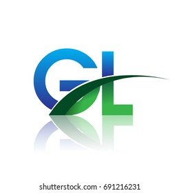 initial letter GL logotype company name colored blue and green swoosh design. vector logo for business and company identity.