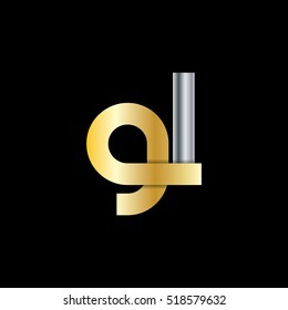 Initial Letter GL Lowercase Design Logo Gold Silver