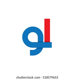 Initial Letter GL Lowercase Design Logo Blue Red