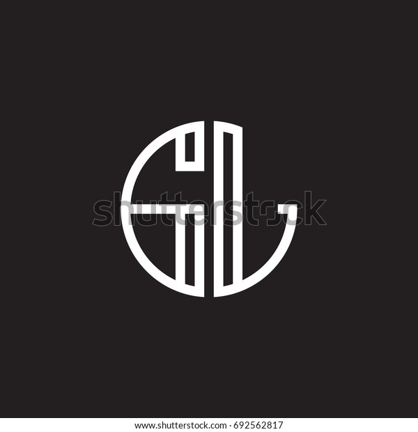 Initial letter GL, minimalist line art monogram circle shape logo, white color on black background