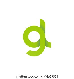 initial letter gl modern linked circle round lowercase logo green
