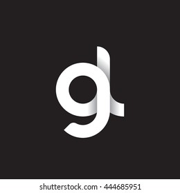 initial letter gl modern linked circle round lowercase logo white black