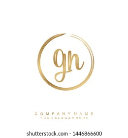Initial letter GN beautiful handwriting logo vector template