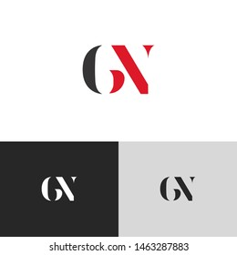 Initial Letter gn g n uppercase modern logo design template elements. red letter Isolated on black white grey background. Suitable for business, consulting group company.