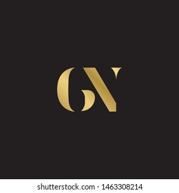 Initial letter gn g n  uppercase modern logo design template elements. Gold letter Isolated on black  background. Suitable for business, consulting group company.