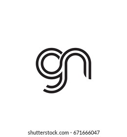 Initial letter gn, linked outline rounded lowercase, monogram black