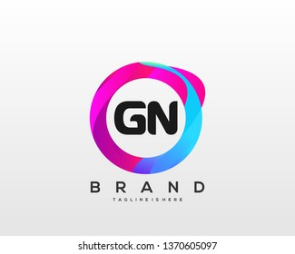 Initial letter GN logo with colorful circle background, letter combination logo design for creative industry, web, business and company. - Vector
