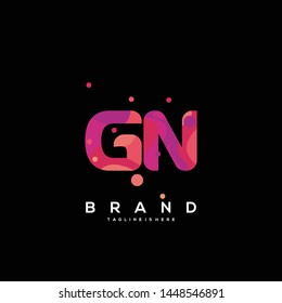 Initial letter GN logo with colorful background, letter combination logo design for creative industry, web, business and company. - Vector