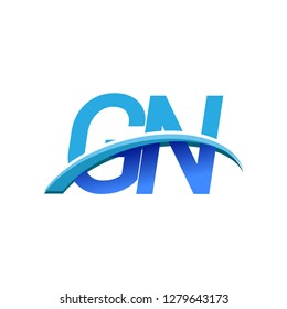 initial letter GN logotype company name colored blue and swoosh design. vector logo for business and company identity.