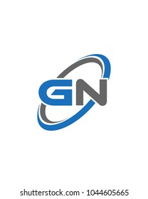 initial letter GN swoosh ring company logo blue gray