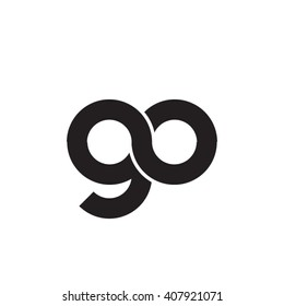 initial letter go linked circle lowercase monogram logo black