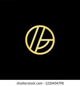 Initial letter GO OG minimalist art logo, gold color on black background.