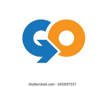 Initial letter GO, uppercase logo, vector