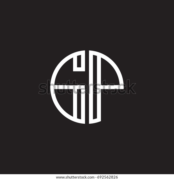 Initial letter GP, minimalist line art monogram circle shape logo, white color on black background