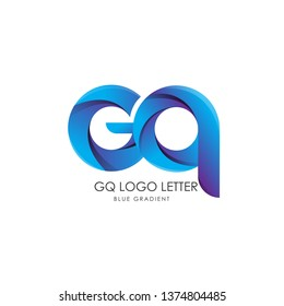 Initial Letter gq Linked Circle Lowercase Logo Blue Icon Design Template Element with gradient - Vector