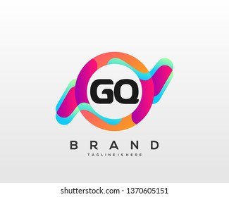 Initial letter GQ logo with colorful circle background, letter combination logo design for creative industry, web, business and company. - Vector