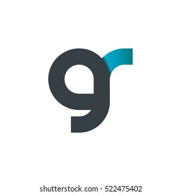 Initial Letter GR Linked Rounded Circle Lowercase Logo Black Blue
