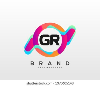 Initial letter GR logo with colorful circle background, letter combination logo design for creative industry, web, business and company. - Vector
