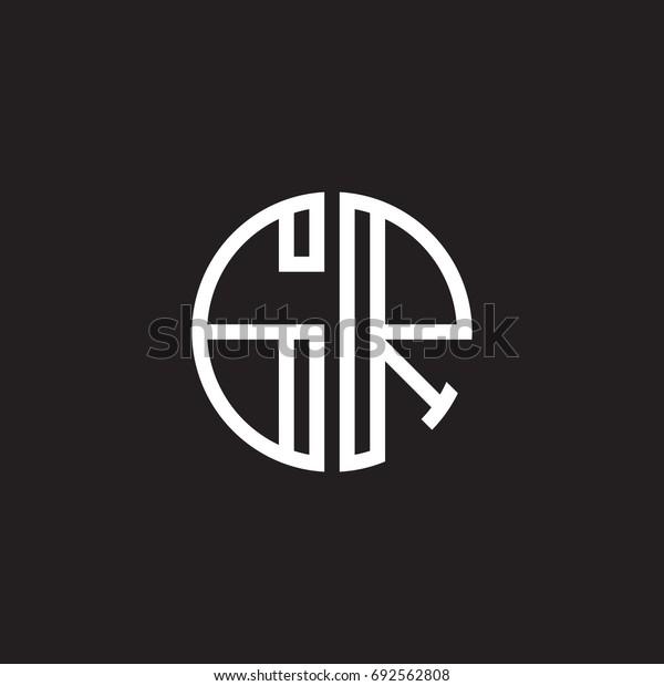 Initial letter GR, minimalist line art monogram circle shape logo, white color on black background