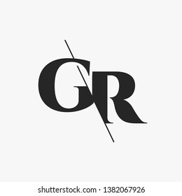 Initial Letter GR Monogram Sliced. Modern logo template isolated on gray background