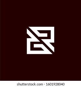 Initial letter GR or RG logo template with geometric square line art illustration in flat design monogram symbol