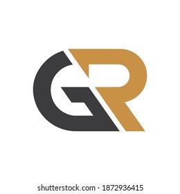 initial letter gr or rg logo vector design template