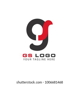 Initial Letter GS Linked Circle Lowercase Logo Black Blue Icon Design Template Element